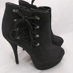 Black Laceup Heeled Booties Size 8 Charlotte Russe